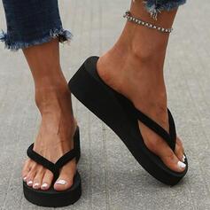 Women's PVC Wedge Heel Sandals Wedges Flip-Flops Slippers Heels With Colorblock shoes