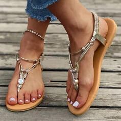 Women's PU Flat Heel Sandals Peep Toe Flip-Flops With Rhinestone Hollow-out shoes