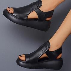 Women's PU Wedge Heel Sandals Platform Wedges Peep Toe Slingbacks Low Top With Velcro Solid Color shoes