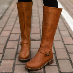 Women's PU Chunky Heel Round Toe Riding Boots With Buckle Zipper Solid Color shoes