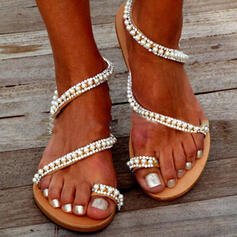 Women's PVC Flat Heel Sandals Peep Toe Toe Ring With Rhinestone Hollow-out shoes