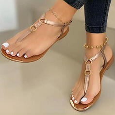 Women's PU Flat Heel Sandals Flats Peep Toe Flip-Flops With Buckle shoes