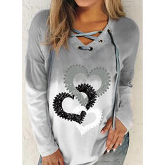 Print Gradient Heart V-Neck Long Sleeves Sweatshirt