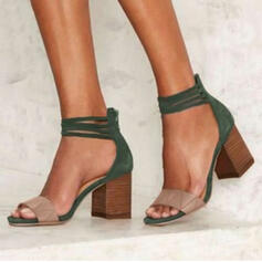 Women's PU Chunky Heel Sandals Pumps With Splice Color shoes