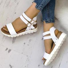 PU Flat Heel Sandals Wedges Peep Toe Heels With Buckle shoes