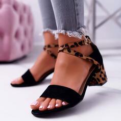 Women's Suede Chunky Heel Sandals Pumps Peep Toe Heels With Buckle Animal Print shoes