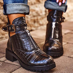 Women's PU Chunky Heel Ankle Boots Round Toe Chelsea Boots With Buckle Zipper Hollow-out Solid Color shoes