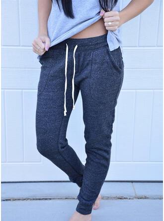 Pockets Drawstring Long Casual Sporty Pants