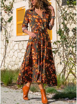 Print/Floral Long Sleeves A-line Shirt/Skater Casual Midi Dresses