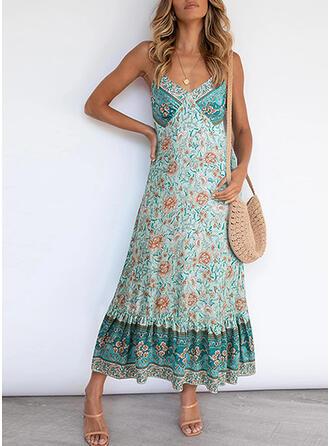 Print/Floral Sleeveless Shift Slip Casual/Boho/Vacation Midi Dresses