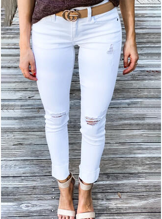Solid Ripped Sexy Plain Denim & Jeans