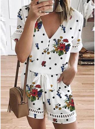 Floral Print PolkaDot V-Neck Short Sleeves Casual Romper