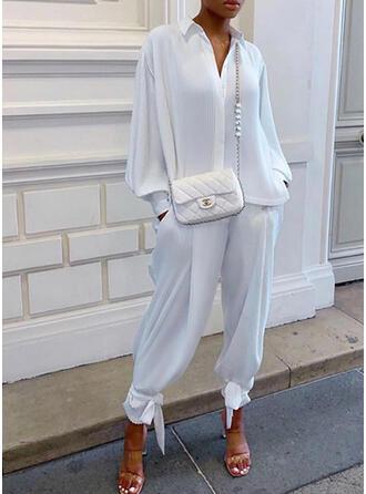 Solid Plus Size Casual Plain Suits