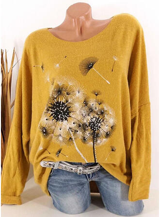 Dandelion Sequins Round Neck Long Sleeves T-shirts