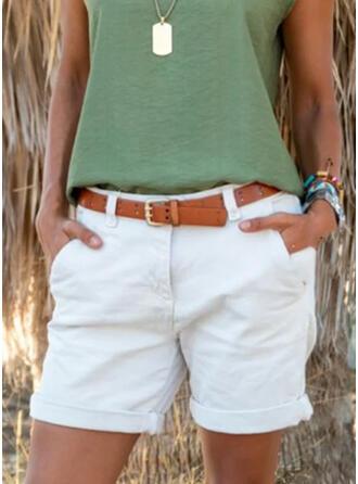 Solid Plus Size Casual Plain Shorts