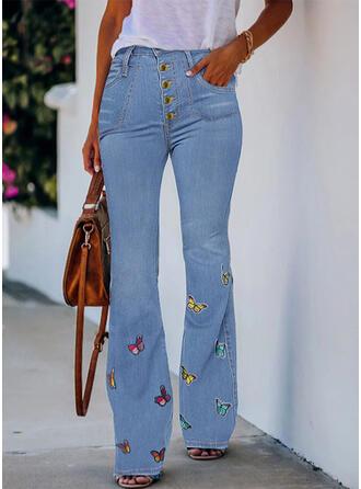 Butterfly Denim Long Casual Pocket Denim & Jeans