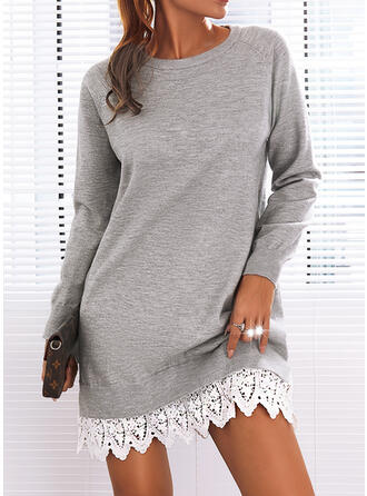 Solid Lace Long Sleeves Casual Dresses