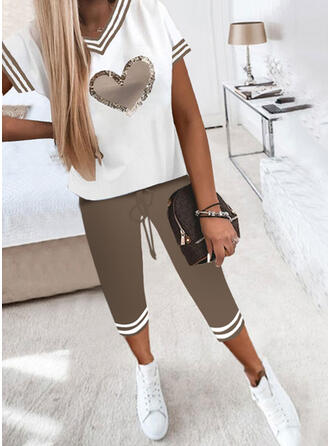 Heart Striped Print Color Block Casual Plus Size Tee & Pants Two-Piece Outfits Set