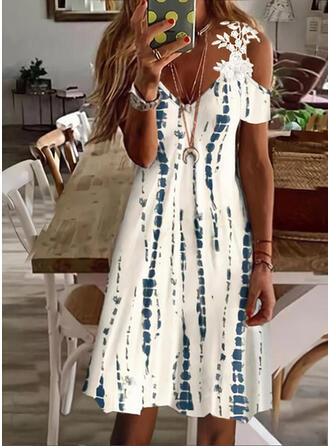 Print Lace Short Sleeves Cold Shoulder Sleeve Shift Above Knee Casual/Vacation Tunic Dresses