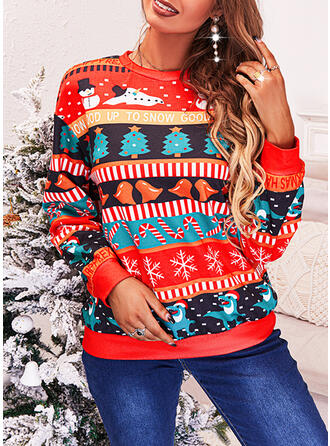 Christmas Print Letter Snowflake Round Neck Long Sleeves Sweatshirt