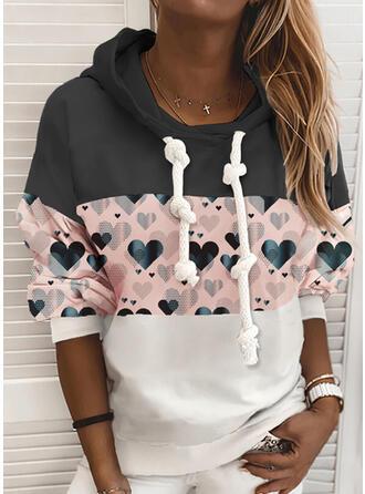 Print Color Block Heart Long Sleeves Hoodie