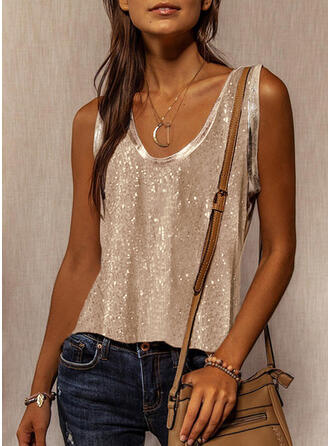 Sequins Solid Round Neck Sleeveless Tank Tops