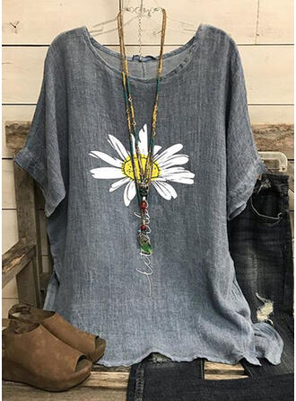 Floral Print Letter Round Neck Short Sleeves T-shirts