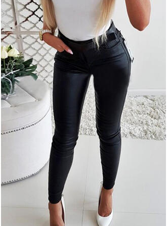 Solid Pockets Shirred Long Elegant Sexy Leather Pants