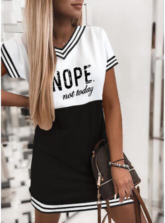 Print/Color Block/Letter Short Sleeves Shift Above Knee Casual T-shirt Dresses