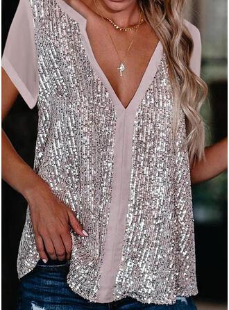 Sequins V-Neck Short Sleeves Elegant Blouses