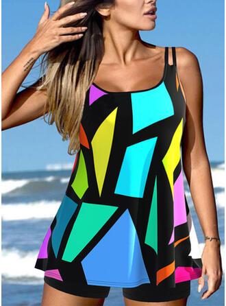 Geometric Color Block Strap U-Neck Plus Size Vacation Tankinis Swimsuits