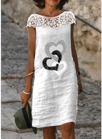 Lace/Print/Heart Short Sleeves Shift Knee Length Casual Dresses