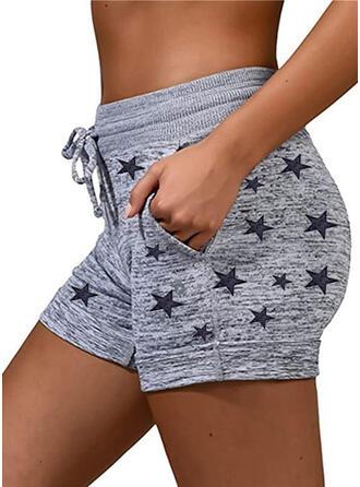 Star Cotton Casual Sporty Plus Size Pocket Drawstring Pants Shorts