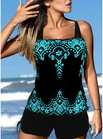 Print Splice color Strap U-Neck Retro Boho Tankinis Swimsuits