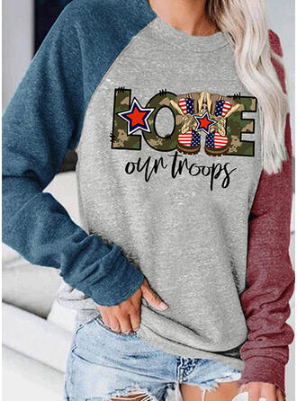 Print Color Block Letter Round Neck Long Sleeves Sweatshirt