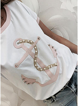 Beaded Print Sequins Round Neck Short Sleeves T-shirts