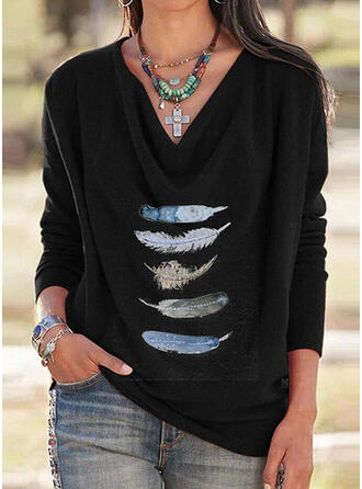 Feather V-Neck Long Sleeves T-shirts