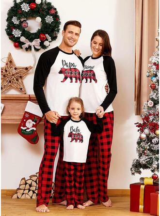 Bear Plaid Letter Print Family Matching Christmas Pajamas