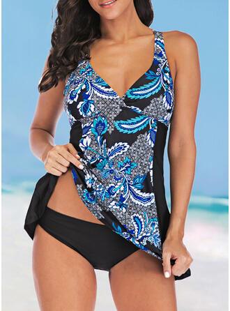 Print Splice color Strap V-Neck Elegant Fashionable Casual Swimdresses Swimsuits