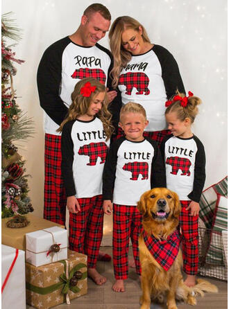 Bear Plaid Letter Family Matching Christmas Pajamas