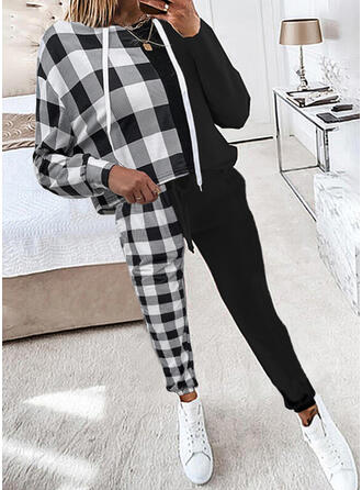 Plaid Color Block Casual Sweatshirts & Two-Piece Outfits Set