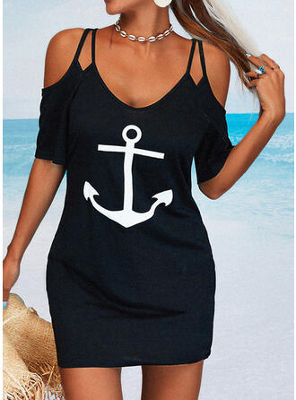 Print 1/2 Sleeves Bodycon Above Knee Casual Dresses