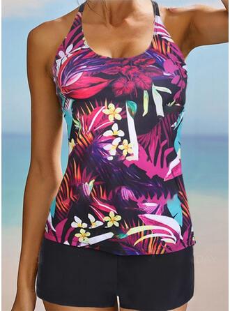 Tropical Print Strap U-Neck Sexy Vintage Plus Size Tankinis Swimsuits