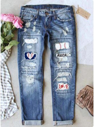 Print Tribal Long Casual Vintage Plus Size Stitching Pocket Ripped Pants Denim & Jeans