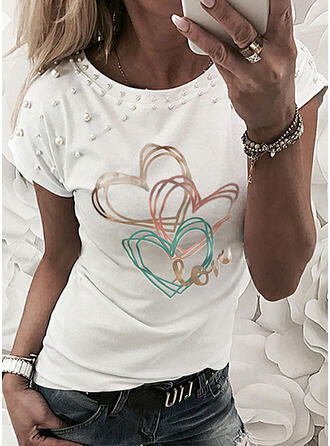 Beaded Heart Print Letter Round Neck Short Sleeves T-shirts