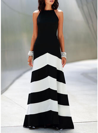 Color Block/Backless Sleeveless A-line Skater Party Maxi Dresses