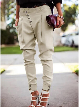 Solid Shirred Plus Size Elegant Sexy Pants