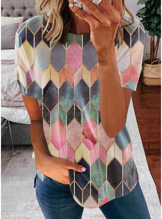 Geometric Print Round Neck Short Sleeves T-shirts