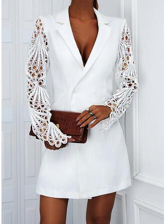 Solid Lace Long Sleeves Sheath Above Knee Elegant Dresses