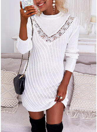 Solid Lace Long Sleeves Shift Above Knee Casual Sweater Dresses